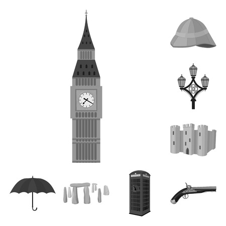 England country monochrome icons in set collection for design.Travel and attractions vector symbol stock web illustration. 写真素材 - 107829819