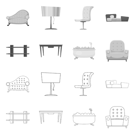 Vector design of furniture and apartment symbol. Set of furniture and home vector icon for stock.