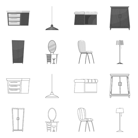 Isolated object of furniture and apartment icon. Set of furniture and home stock vector illustration.