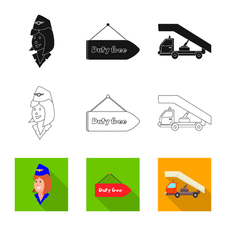 Isolated object of airport and airplane logo. Set of airport and plane vector icon for stock. Иллюстрация