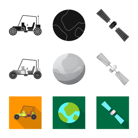 Vector illustration of mars and space symbol. Set of mars and planet vector icon for stock.