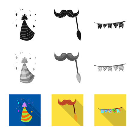 Vector design of party and birthday icon. Collection of party and celebration stock vector illustration.