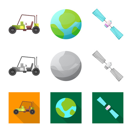 Vector design of mars and space sign. Set of mars and planet vector icon for stock.
