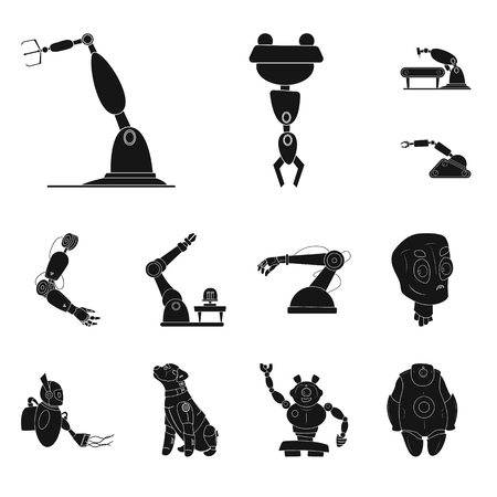 Vector illustration of robot and factory icon. Set of robot and space vector icon for stock.