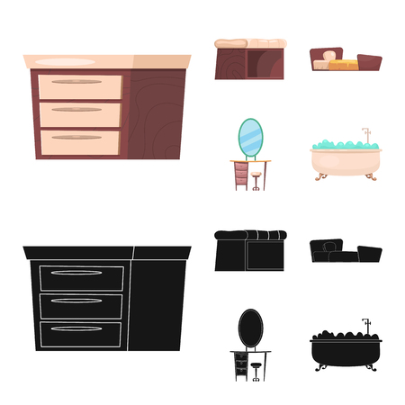 Vector design of furniture and apartment symbol. Set of furniture and home stock vector illustration.
