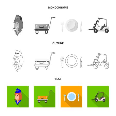 Vector illustration of airport and airplane logo. Collection of airport and plane stock vector illustration. Ilustração