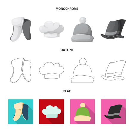 Vector illustration of headgear and cap icon. Collection of headgear and accessory stock vector illustration. Ilustrace