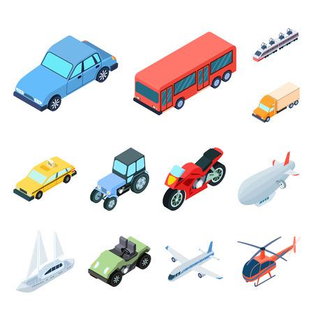 Diversi tipi di icone del fumetto di trasporto nella raccolta di set per il disegno. Illustrazione isometrica delle azione di simbolo di vettore della nave e dell'automobile.