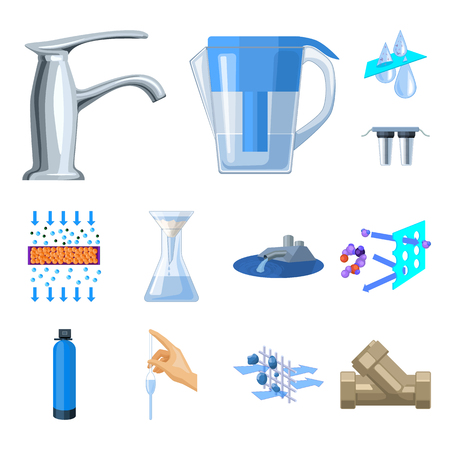 Water filtration system cartoon icons in set collection for design. Cleaning equipment vector symbol stock  illustration. Illustration