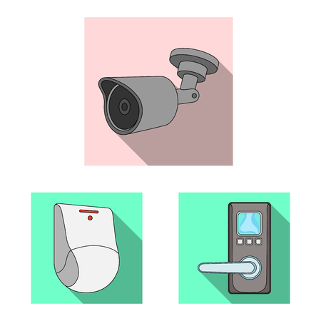 Isolated object of cctv and camera sign. Set of cctv and system vector icon for stock.