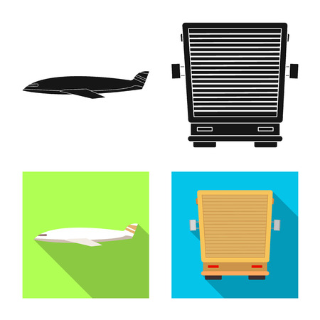Vector illustration of goods and cargo icon. Set of goods and warehouse stock vector illustration.
