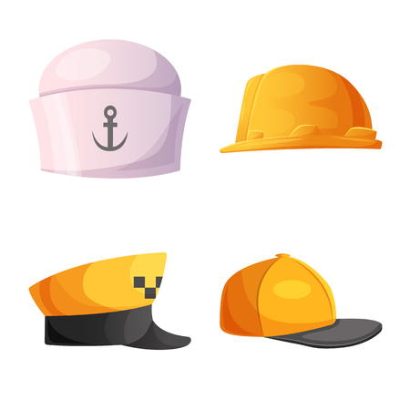 Vector design of headgear and cap logo. Collection of headgear and accessory vector icon for stock. Illustration