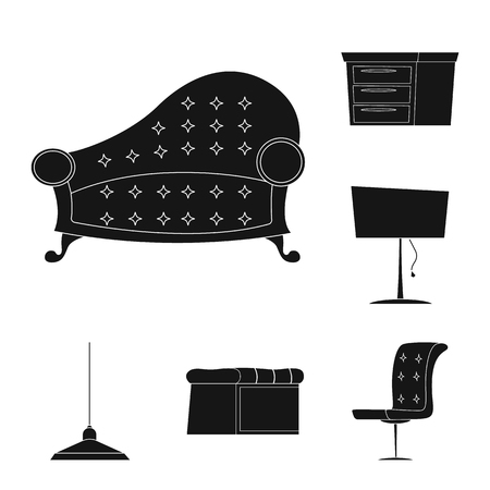 Vector design of furniture and apartment sign. Set of furniture and home vector icon for stock.