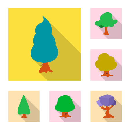 Vector design of tree and nature icon. Collection of tree and crown stock vector illustration.