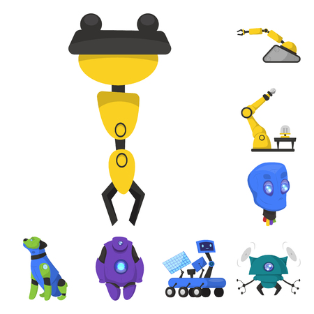 Vector illustration of robot and factory logo. Set of robot and space vector icon for stock.