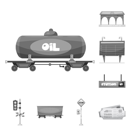 Vector design of train and station sign. Collection of train and ticket vector icon for stock.