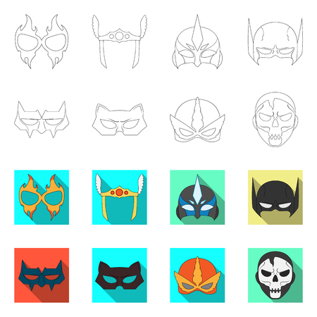 Isolated object of hero and mask symbol. Set of hero and superhero vector icon for stock.