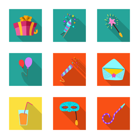 Vector design of party and birthday sign. Collection of party and celebration vector icon for stock. Illustration