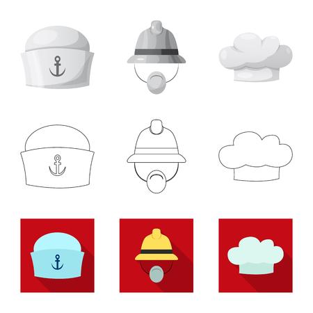 Vector illustration of headgear and cap symbol. Set of headgear and accessory stock vector illustration. Ilustrace
