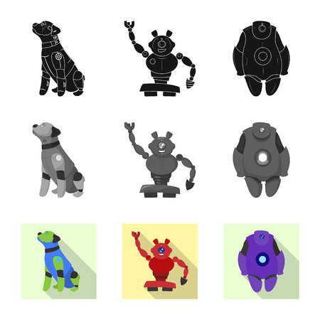 Isolated object of robot and factory logo. Set of robot and space vector icon for stock.
