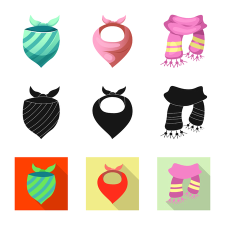 Isolated object of scarf and shawl sign. Set of scarf and accessory stock symbol for web.