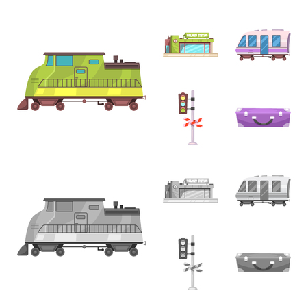 Isolated object of train and station logo. Set of train and ticket stock symbol for web. Illustration