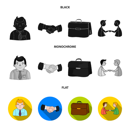 Businessman, handshake, portfolio, agreement.Business-conference and negotiations set collection icons in black, flat, monochrome style vector symbol stock illustration web.