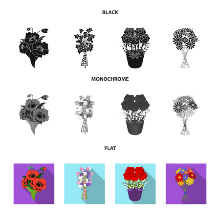 A bouquet of fresh flowers black, flat, monochrome icons in set collection for design. Various bouquets vector symbol stock web illustration.