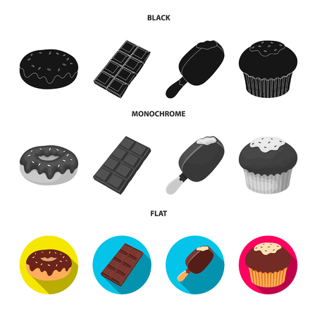 Donut with chocolate, zskimo, shokolpada tile, biscuit.Chocolate desserts set collection icons in black, flat, monochrome style vector symbol stock illustration web. Illustration