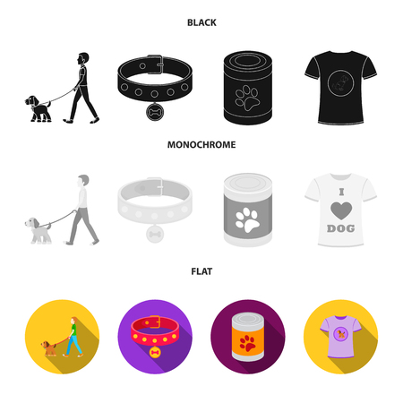 A man walks with a dog, a collar with a medal, food, a T-shirt I love dog.Dog set collection icons in black, flat, monochrome style vector symbol stock illustration web. Foto de archivo - 107943635