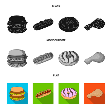 Fast ,food, meal, and other web icon in black, flat, monochrome style.Hamburger, bun, flour, icons in set collection. Ilustracja