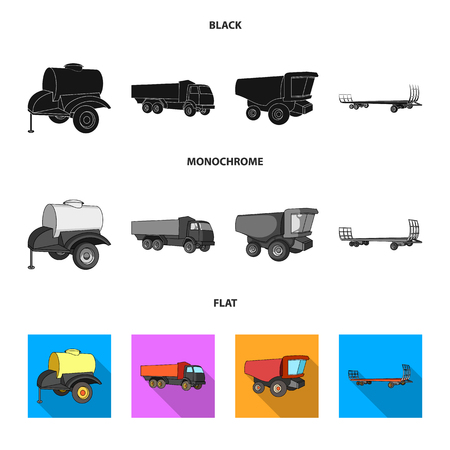 Trailer with a barrel, truck and other agricultural devices. Agricultural machinery set collection icons in black, flat, monochrome style vector symbol stock illustration web. Illustration