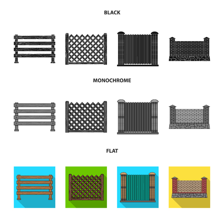 A fence of metal and bricks,wooden palisade. A different fence set collection icons in black, flat, monochrome style vector symbol stock illustration web.