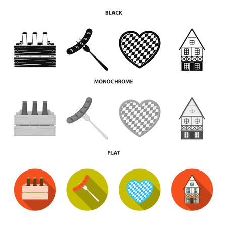 Box with beer, fried sausage, heart of the festival, bavarian cottage. Oktoberfest set collection icons in black, flat, monochrome style vector symbol stock illustration .