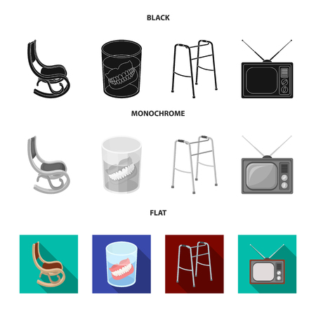 Denture, rocking chair, walker, old TV.Old age set collection icons in black, flat, monochrome style vector symbol stock illustration .