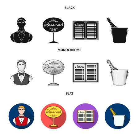 Camarero, signo de reserva, menú, champán en un cubo de hielo.El restaurante establece los iconos de la colección en la web de ilustración de stock de símbolo de vector de estilo monocromo.