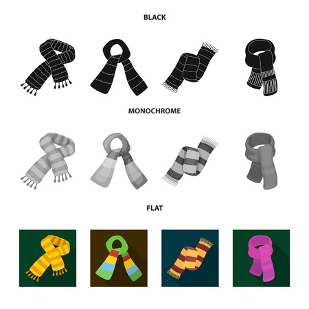 Various kinds of scarves, scarves and shawls. Scarves and shawls set collection icons in black, flat, monochrome style vector symbol stock illustration web.