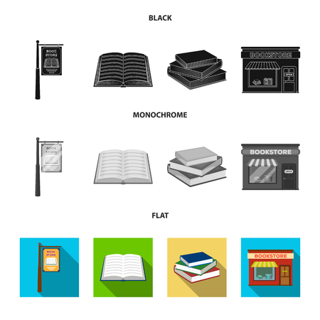 A signboard, a bookstore, a stack of books, an open book. A library and a bookstore set collection icons in black, flat, monochrome style vector symbol stock illustration .