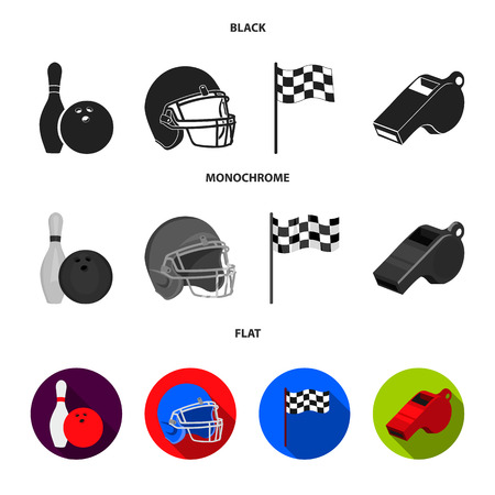 Bowl and bowling pin for bowling, protective helmet for playing baseball, checkbox, referee, whistle for coach or referee. Sport set collection icons in cartoon ,flat style vector symbol stock illustration . Ilustrace