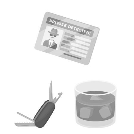 Detective and Attributes monochrome icons in set collection for design.Detective Agency bitmap symbol stock web illustration.