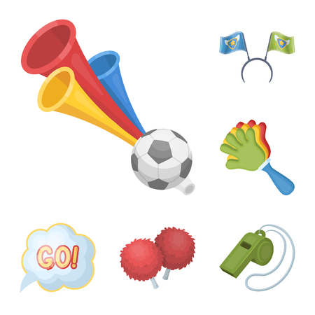 Fan and Attributes cartoon icons in set collection for design. Sports Fan bitmap symbol stock web illustration. Stock Photo