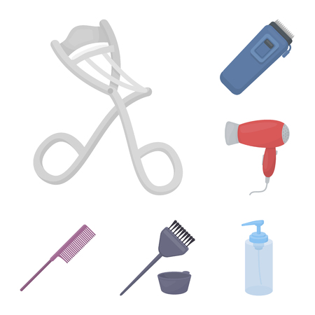 Hairdresser and tools cartoon icons in set collection for design.Profession hairdresser bitmap symbol stock web illustration.