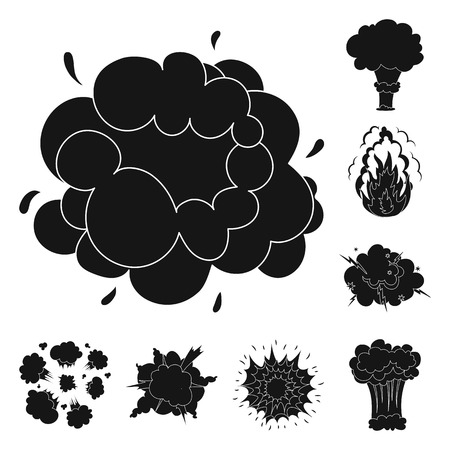 Different explosions black icons in set collection for design.Flash and flame bitmap symbol stock web illustration.