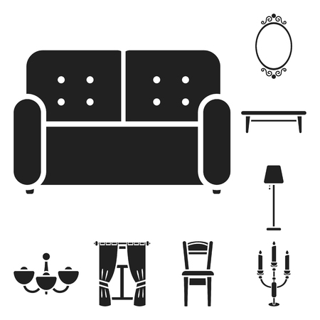 Furniture and interior black icons in set collection for design.Home furniture bitmap symbol stock web illustration.