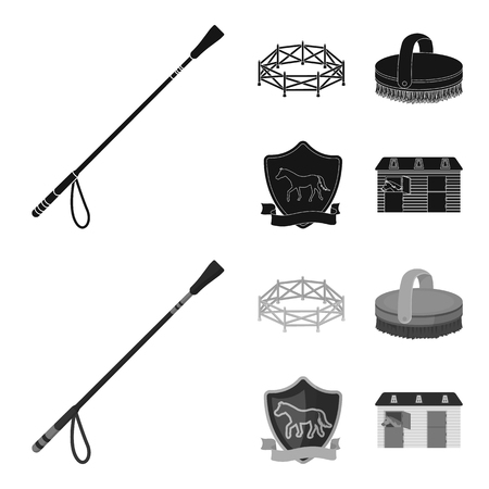 Aviary, whip, emblem, hippodrome .Hippodrome and horse set collection icons in black,monochrome style bitmap symbol stock illustration web.