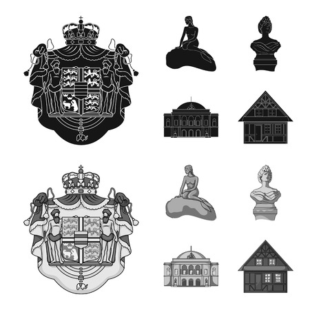 National, symbol, drawing, and other web icon in black,monochrome style. Denmark, attributes, style, icons in set collection. Фото со стока