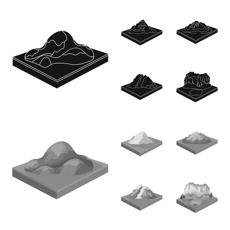 Mountains, rocks and landscape. Relief and mountains set collection icons in black,monochrome style isometric bitmap symbol stock illustration web. Фото со стока