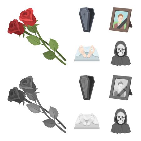 Coffin with a lid and a cross, a photograph of the deceased with a mourning ribbon, a corpse on the table with a tag in the morgue, death in a hood. Funeral ceremony set collection icons in cartoon,monochrome style bitmap symbol stock illustration web. Stock Photo