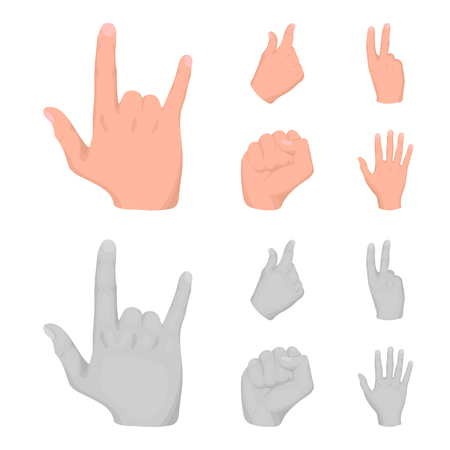 Open fist, victory, miser. Hand gesture set collection icons in cartoon,monochrome style bitmap symbol stock illustration web.