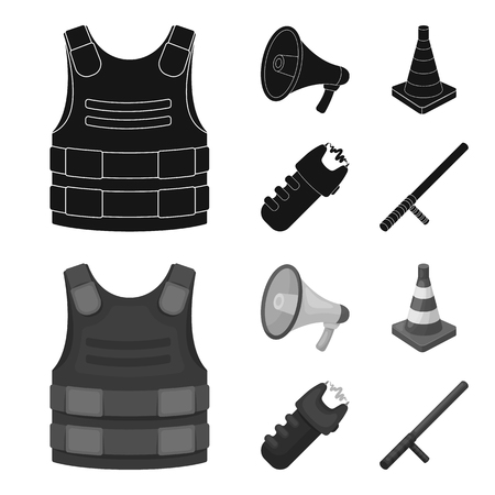 Bulletproof vest, megaphone, cone of fencing, electric shock. Police set collection icons in black,monochrome style bitmap symbol stock illustration web.